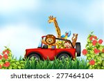 Stock vector animals riding a car in the park 277464104