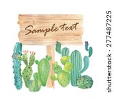 watercolor wood nameplate with... | Shutterstock .eps vector #277487225