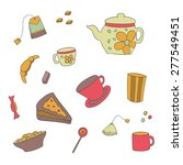 set of colored tea items... | Shutterstock .eps vector #277549451