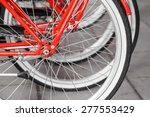 Parked Red Street Bicycles For...