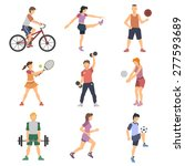 sport people flat icons set... | Shutterstock .eps vector #277593689