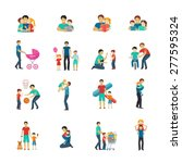 fatherhood flat icons set with...   Shutterstock .eps vector #277595324
