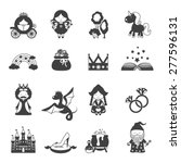 fairy tale black icons set with ...