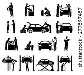 auto service icons black set... | Shutterstock .eps vector #277597457