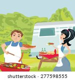 couple outdoor grilling meat  | Shutterstock .eps vector #277598555