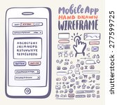 mobile app wireframe kit. hand...