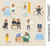 set of businesswoman routine... | Shutterstock .eps vector #277606607