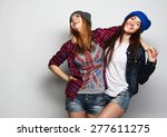 fashion portrait of two stylish ... | Shutterstock . vector #277611275