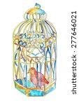 Bird In The Cage Watercolor...