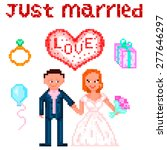 set in style pixel art  wedding ... | Shutterstock .eps vector #277646297