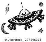 Постер, плакат: Comic Retro Flying Saucer Illustration