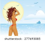vector illustration of girl at... | Shutterstock .eps vector #277693085