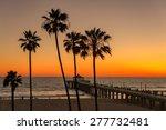 palm trees over the manhattan... | Shutterstock . vector #277732481