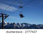 Ski Lift On A Blue Sky And Big...
