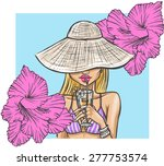 summer girl in hat drinks a... | Shutterstock .eps vector #277753574