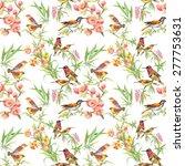 watercolor wild exotic birds on ... | Shutterstock .eps vector #277753631