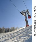 Ski slope and cable car - stock photo