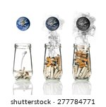 cigarette butt in bottle with... | Shutterstock . vector #277784771