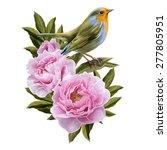 yellow bird and pink peonies   Shutterstock .eps vector #277805951