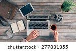 vintage hipster wooden desktop... | Shutterstock . vector #277831355