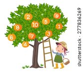 girl picking orange and... | Shutterstock .eps vector #277836269
