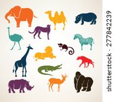 Stock vector african animals stylized vector silhouettes 277842239