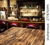 Stock photo blurred background of bar and dirty table 277870394