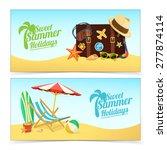 summer travel banners. tropic...   Shutterstock .eps vector #277874114