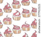 seamless cupcake pattern | Shutterstock .eps vector #277912121