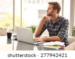 young man sitting in front of... | Shutterstock . vector #277942421