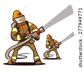 firefighter with the hose... | Shutterstock .eps vector #277949771