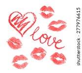 Vector Set Of Lips Prints On...