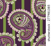 striped colorful paisley... | Shutterstock .eps vector #277981385