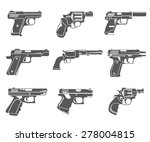 gun icons  handgun  pistol set