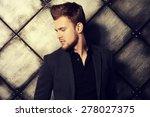 vogue shot of a handsome man in ... | Shutterstock . vector #278027375