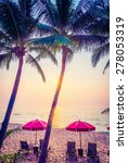 silhouette palm tree with sun... | Shutterstock . vector #278053319