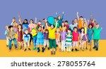 multiethnic children smiling... | Shutterstock . vector #278055764