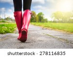 young woman in pink rain boots... | Shutterstock . vector #278116835