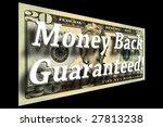 Money Back Guaranteed concept on a twenty dollar bill isolated on black - stock photo