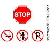 stop sign. set parking  smoking ... | Shutterstock .eps vector #278133545