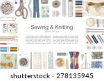 sewing and knitting on white... | Shutterstock . vector #278135945