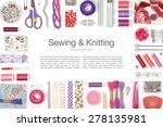 sewing and knitting on white... | Shutterstock . vector #278135981