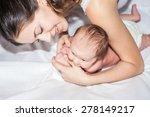 newborn baby girl lying on her...   Shutterstock . vector #278149217