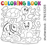 coloring book with sea animals... | Shutterstock .eps vector #278152205