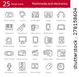 vector thin line multimedia and ... | Shutterstock .eps vector #278158604