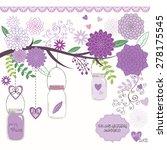 wedding mason jar with branches ... | Shutterstock .eps vector #278175545