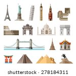 countries of the world vector logo design template. architecture, monument or landmark icon. | Shutterstock vector #278184311