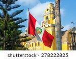 peruvian flag and yellow church ... | Shutterstock . vector #278222825