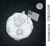 pioneer astronaut on the moon.... | Shutterstock .eps vector #278251559