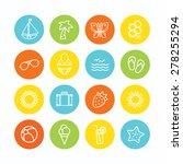 set of summer themed icons | Shutterstock .eps vector #278255294